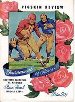 1948 Rose Bowl Football program Michigan Wolverines vs. USC Trojans ~ Very Good