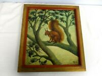 ORIGINAL SIGNED FLORENCE MARTIN OIL ON BOARD PAINTING of SQUIRREL IN PINE TREE