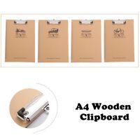 Klemmbrett A4 Holz mit Metall Klemme | Schreibunterlage | Clipboard Mit Lineal