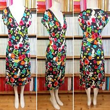 MARC CAIN dress silk jersey print faux wrap summer ruched 4 UK 12 14 US 8 10