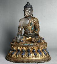 "12"" Old Tibet Buddhism Crystal Copper Gilt Gold Gem Shakyamuni Buddha Statue"