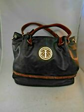 Dasein Black Leather Large Shoulder Bag Purse w/ Brown Accents