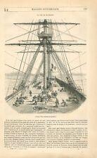 Proue Poupe Vaisseau de Guerre Bateau à Voile Matelots Marins Océan GRAVURE 1847
