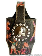 WESTERN CELL PHONE HOLDER BARREL RACER COWGIRL LEATHER ANTIQUE BROWN