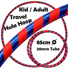Pro Hula Hoop for Kids or Adults - Weighted Travel Hoola Hoop (Orange/Blue)