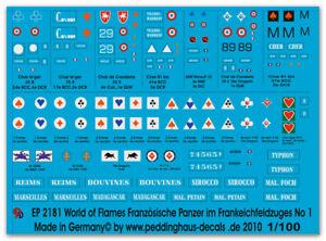 Peddinghaus Decals 1/100 2181 World of Flames Französische Panzer im Frankreichf
