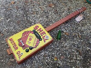 CIGAR BOX GUITAR - 3- STRING- TIN TOP- HAND CRAFTED BY SALTY DOG CBG-FREE SLIDE
