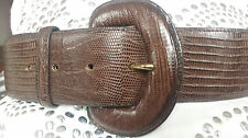 CIPRIANI LIZARD  EXOTIC LEATHER WIDE BELT BROWN SIZE L