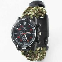Survival Watch Compass Bracelet Whistle Paracord Outdoor Fire Starter Military