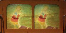 Scène de genre Fillette à la poupé Photo Diorama Stereo Vintage Albumine 1870