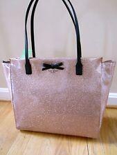 Kate Spade Taden Mavis Street Rose gold Glitter Holiday Tote Bag Purse Bow NWT