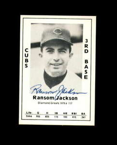 Ransom Jackson Signed 1979 Diamond Greats Chicago Cubs Autograph