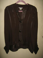 Nygard sweater womens size large open front cardigan XL brown With Leather