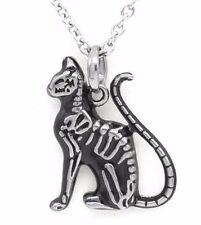 Controse Feral Bones Petite Black Cat Skeleton Steel Pendant Necklace CN122