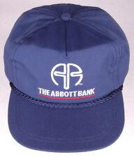 Vtg THE ABBOT BANK Hat-Blue-Strapback-Rope Bill-Finace Money Loans