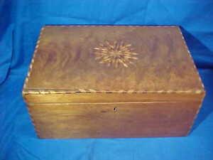 19thc VICTORIAN Era WOOD SEWING BOX w INLAID STAR Lid DESIGN w Tray-Drawers