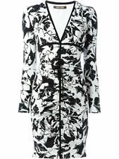 New $1220 Roberto Cavalli Foliage Print Ruched Dress 46 10 Stretchy Black White