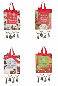 Ganz Holiday Adult Gift Christmas Wine Glass 4 Charms Set, Sold Separate EX29385