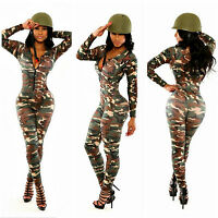 Abito tuta aperto aderente Womens string lace Jumpsuit Dress Clubwear camouflage