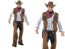 Adulte Frange Déguisement Cowboy Hommes Far West Rodéo Costume M