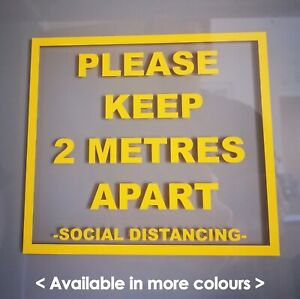 SOCIAL DISTANCING,CO-VID KEEP YOUR DISTANCE 2mtr Shop SIGN Vinyl Square Sticker