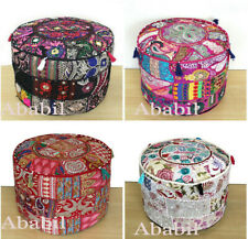 """18"""" Round Indian Patchwork Pouf Ottoman Cover Decorative Foot Stool Cover Throw"""