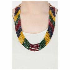 Fünf Lagen Mehrfarbig Echt Rubin Smaragd Onyx Stein Perlen Halskette für Damen