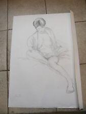 Fusain Etude de nu assis André Simon 1926-2014 1992 Artiste Lorrain