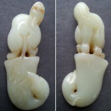 Nice Vintage Chinese Nephrite Hetian Jade Of An Ancient Animal & Phoenix