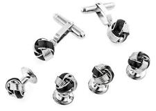 Black Enamel Love Knot Silver Plated Tuxedo Cufflinks and Studs