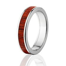 Bloodwood Inlay in Titanium Ring, Exotic Hard Wood Wedding Band , Wood rings