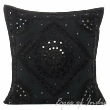 """16"""" Black Mirror Embroidered Colorful Sofa Couch Pillow Cushion Cover"""