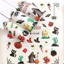 Nail Art Water Decals Stickers Transfers Halloween Spiders Web Pumpkin Bat 3169