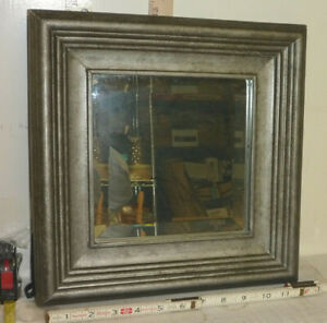 "Vtg 13"" Square Frame Beveled Center Mirror - Wall or Freestanding"