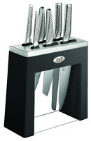 GLOBAL Kabuto Shiro 7 piece Professional Knife Block Set - Black (Made in Japan)