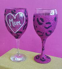 2 caliente rosa leopardo mamá vino Brillo Gafas cumpleaños regalo de Navidad Presente