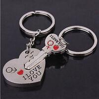 I Love You Silver Heart Lover Couple Arrow Key Chain Ring Keyfob Keyring Gift C