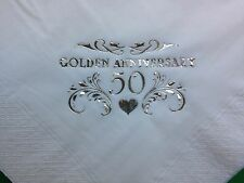 40 golden 50TH anniversaire de mariage 2PLY blanc buffet serviettes or design