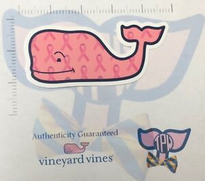 TPW NEW Authentic Vineyard Vines Sticker Breast Cancer Awareness Ribbon Whale