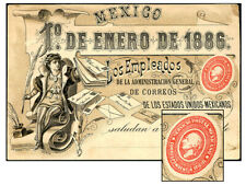 MEXICO OFFICIAL POST OFFICE GREETING CRD JA 1 1886 PPC4