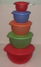 Tupperware Impressions Mixing Bowls 5pc Set Rare Fruit Colors 32,18,10,5,2c New