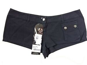 "Belstaff Ladies Shorts Size Medium Black Low Rise Waist 33"""