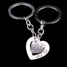 2PC Heart Sister Family Silver Key Chain Ring Keychain Keyring Jewelry Keyfob