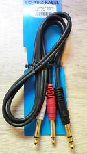 1 Meter Insert-Kabel Stereo > 2x 6,35mm Mono Schulz GIS1 vergoldet Adapterkabel