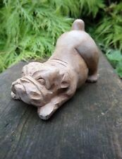 More details for fairtrade hand made wooden british bulldog dog pet animal statue sculpture small