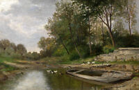 Oil painting nice early spring landscape & canoe and ducks by creek no framed