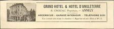 ANNECY (74) GRAND HOTEL ET HOTEL D'ANGLETERRE CROIZAU PROPRIETAIRE PUBLICITE