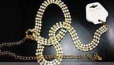 New Fashion 1Pc 3Rows Long Golden Crystal Rhinestone Waist Chain Belt N37