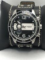 Fossil HR9887 Unisex Black Leather Analog Black Dial Quartz Wrist Watch OP506