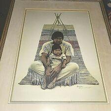 Hand Signed James Bama Print Southwest Indian Father & Son Portrait Ltd Edition